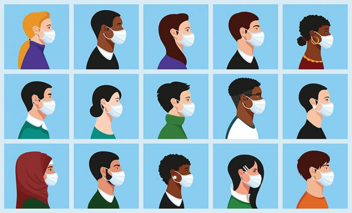 Photo of a grid of 15 animated people looking to the right wearing facemasks