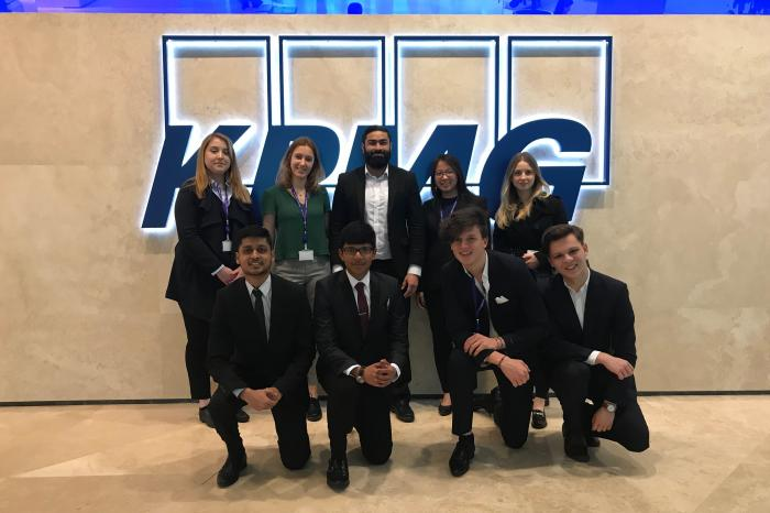 Eight of UCL School of Management's second-year IMB students spent time shadowing at KPMG (Photo: UCL)