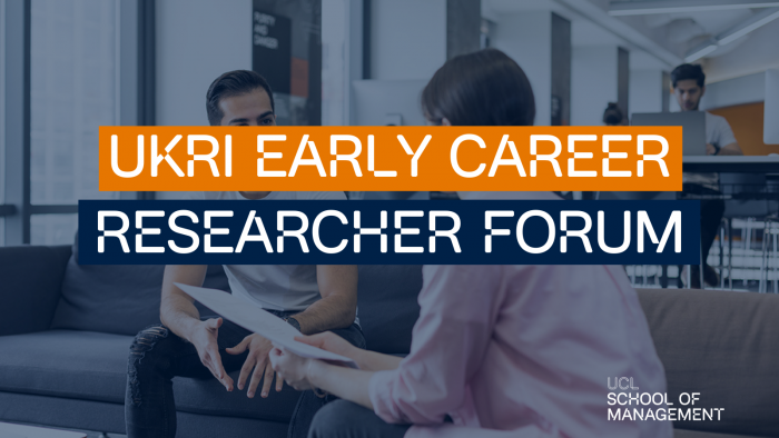 Filter on the photo with blue contrast over two people talking and writing over the top that says; ' UKRI Early Career Research Forum'