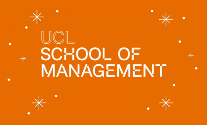 Photo of the UCL School of Management logo on an orange background with white snowflakes