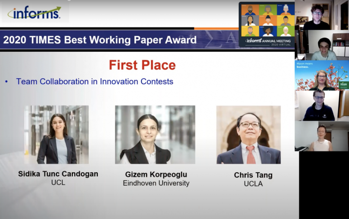 Photo of virtual awards ceremony with the winners (two females and one male) of best working paper's photos on screen