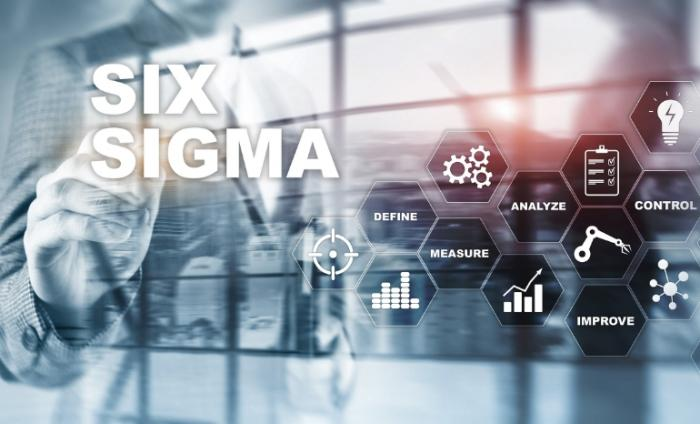 Photo of Six Sigma definitions in a digital image; define, measure, analyse, control and improve are the words