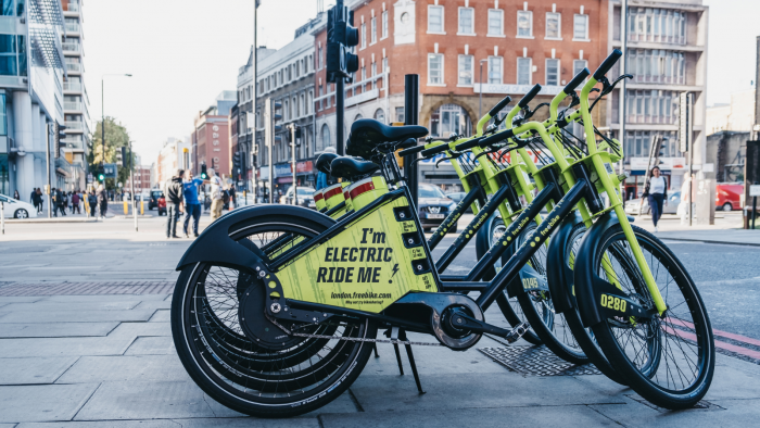 Electric bikes lined up in London