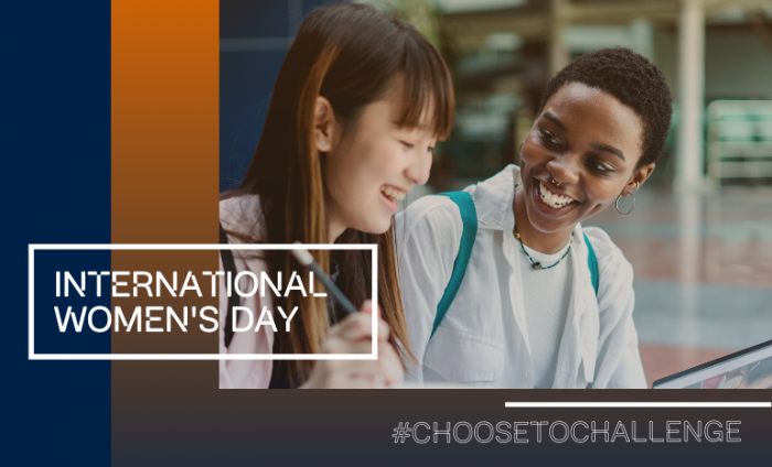 Two women talking and laughing with a blue and orange filter and the words 'International Women's day' and #ChooseToChallenge on the image