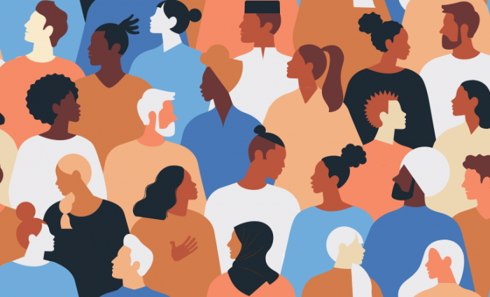 Illustration of a group of people from different backgrounds